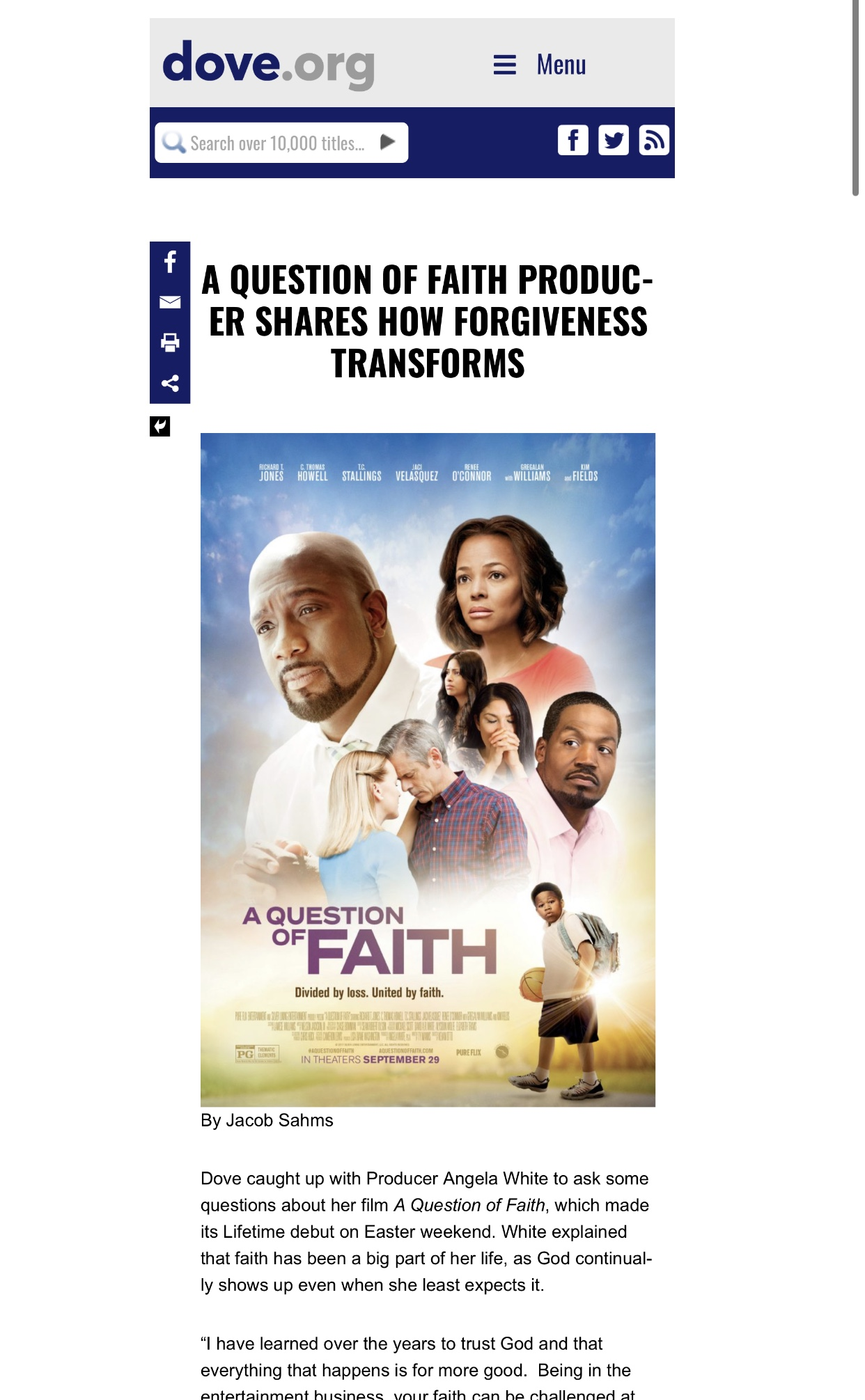 Dove.org with 'A Question of Faith'